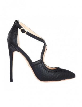 Pantofi LouLou negri cu imprimeu piton
