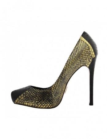 Pantofi Marabou negru-auriu