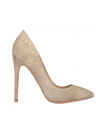 Pantofi Tabitha bej cu imprimeu piton