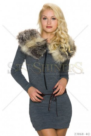 Rochie Enchanted Fur Grey