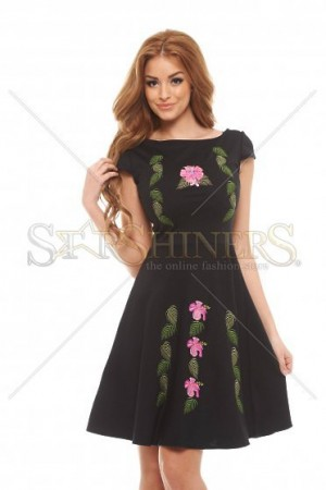 Rochie StarShinerS Brodata Flower Power Black