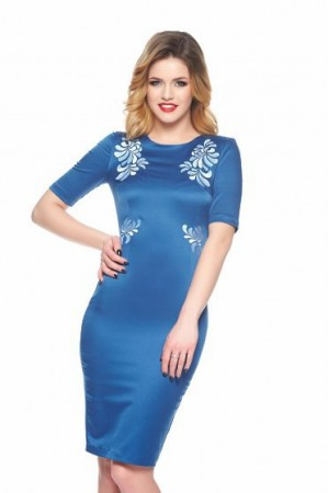 Rochie StarShinerS Brodata Mystic Line Perfect Portrait Blue