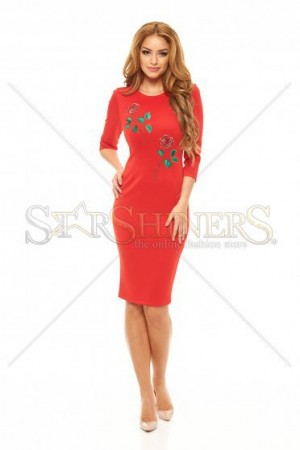 Rochie StarShinerS Brodata Rose Eternity Red