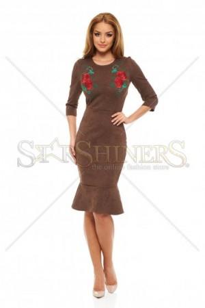 Rochie StarShinerS Brodata Rose Euphoria Brown
