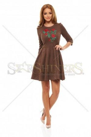 Rochie StarShinerS Brodata Rose Fantasy Brown