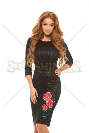Rochie StarShinerS Brodata Rose Passion Black