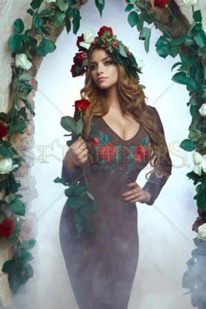 Rochie StarShinerS Brodata Rose Secret Brown