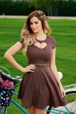 Rochie StarShinerS Hearts Brown