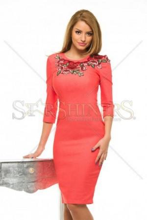 Rochie StarShinerS Roses Orange