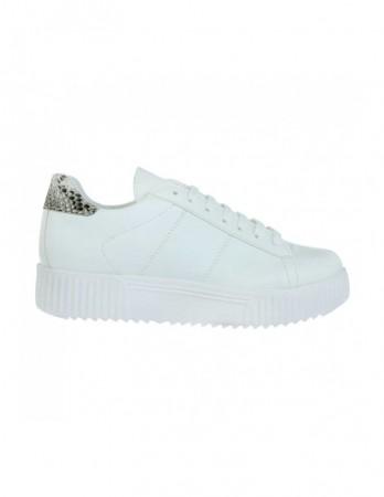 Sneakers Soju alb cu imprimeu piton