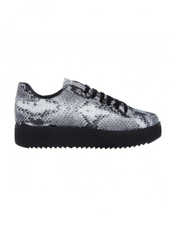 Sneakers Soju gri cu imprimeu piton